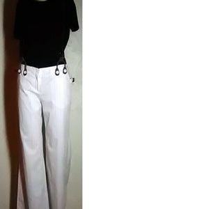 New Frontier NWT  White Pinstripe Pants Size 8